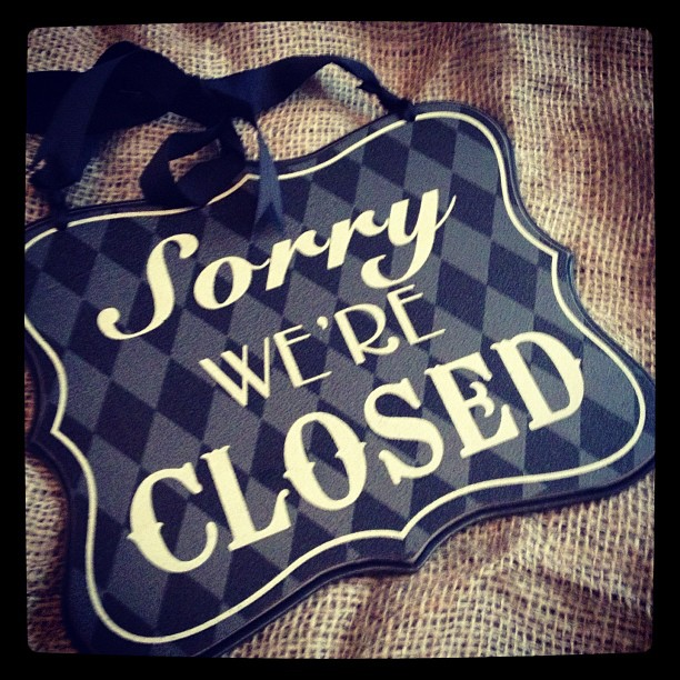 Vintage Open And Closed Black And Cream Hanging Sign